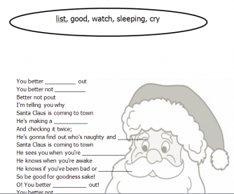 Song Worksheet: Santa Claus Is Coming To Town