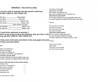Song Worksheet: Your Love is a Song by Switchfoot