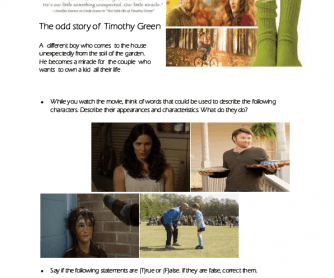 Movie Worksheet: The Odd Life of Timothy Green