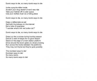 Song Worksheet: Dumb Ways to Die