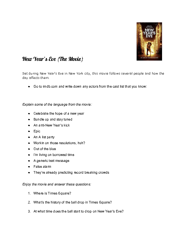 Worksheet: New Year\'s Eve