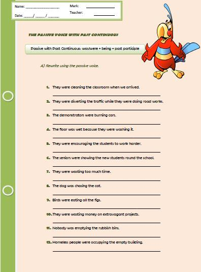 The Passive Voice With Past Continuous Worksheet