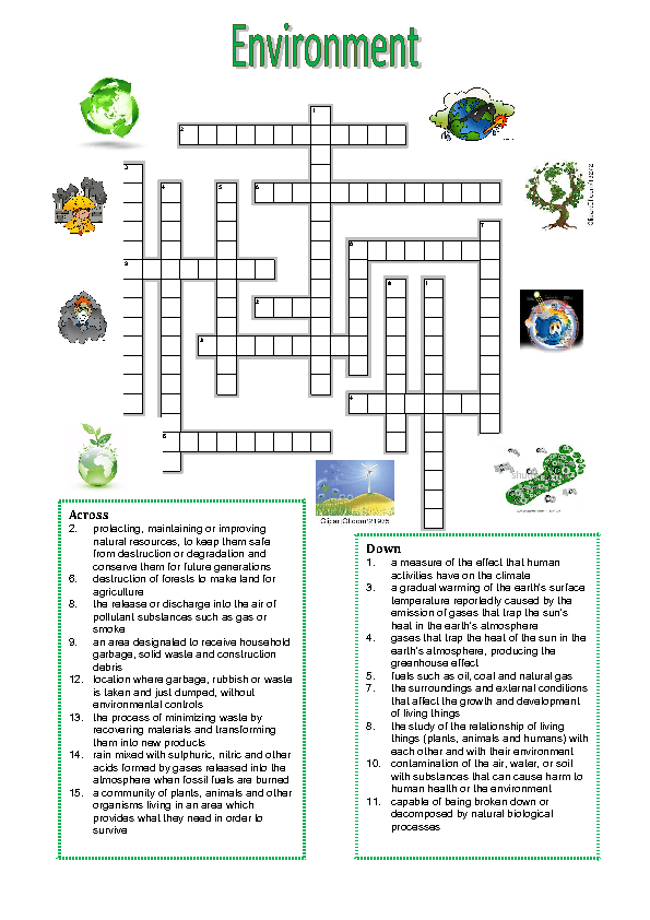 Modular Classroom Crossword ~ Environment vocabulary crossword puzzle
