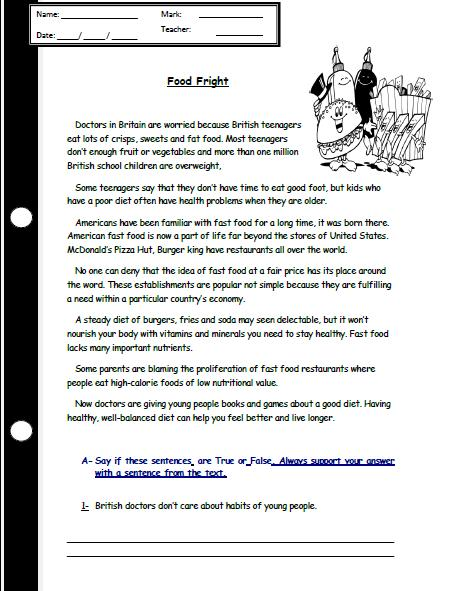 eating habits reading comprehension worksheet