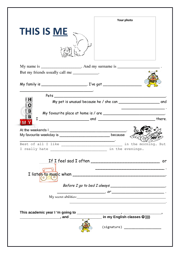 Profile page template this is me for About me template for students
