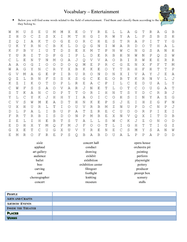 Entertainment Vocabulary Word Search