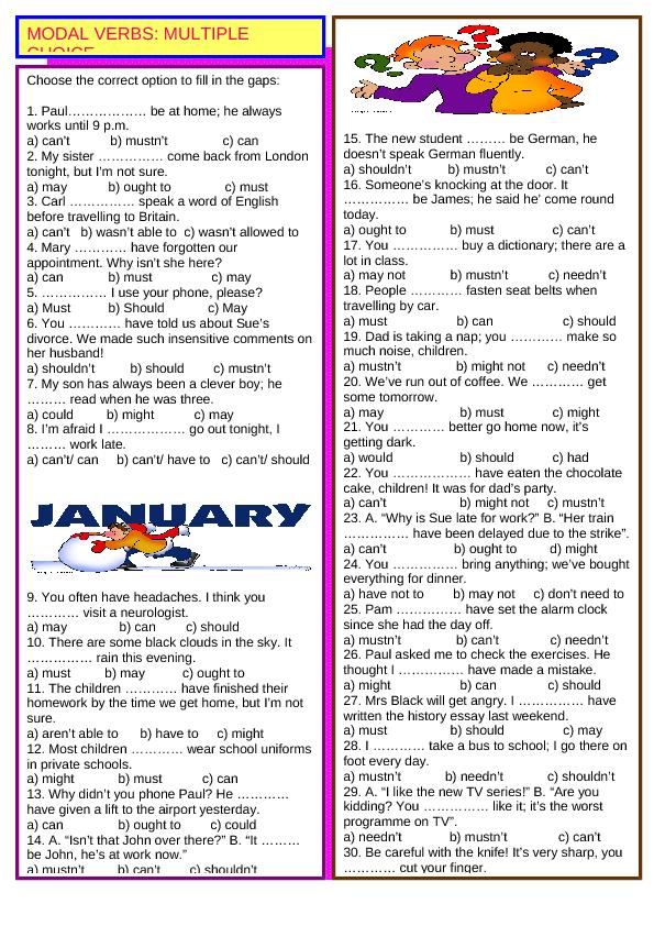Modal Verbs Multiple Choice