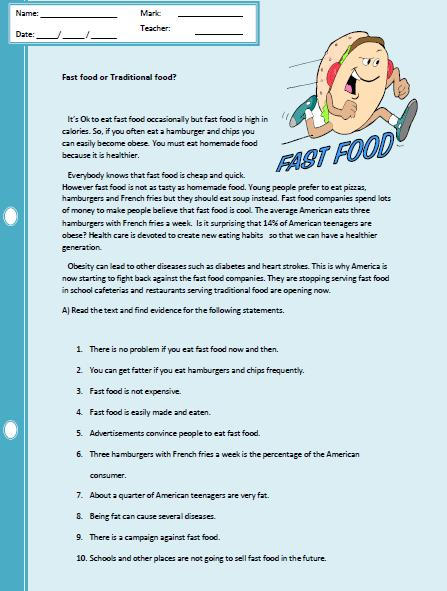 Fast Food Reading Comprehension Worksheet