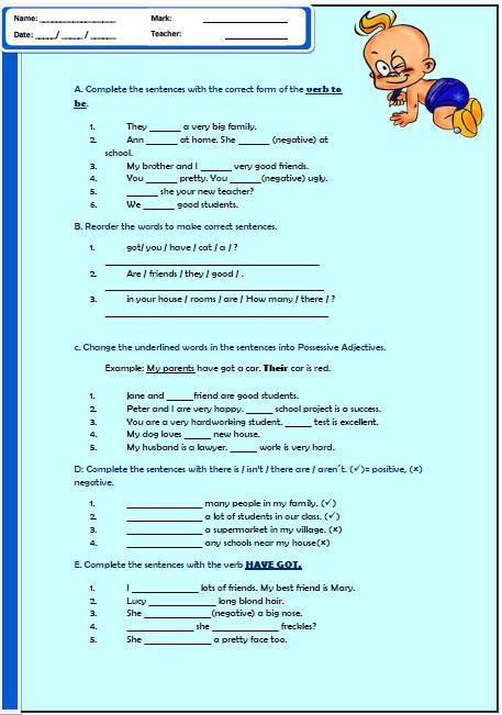 Grammar Overview Elementary Worksheet