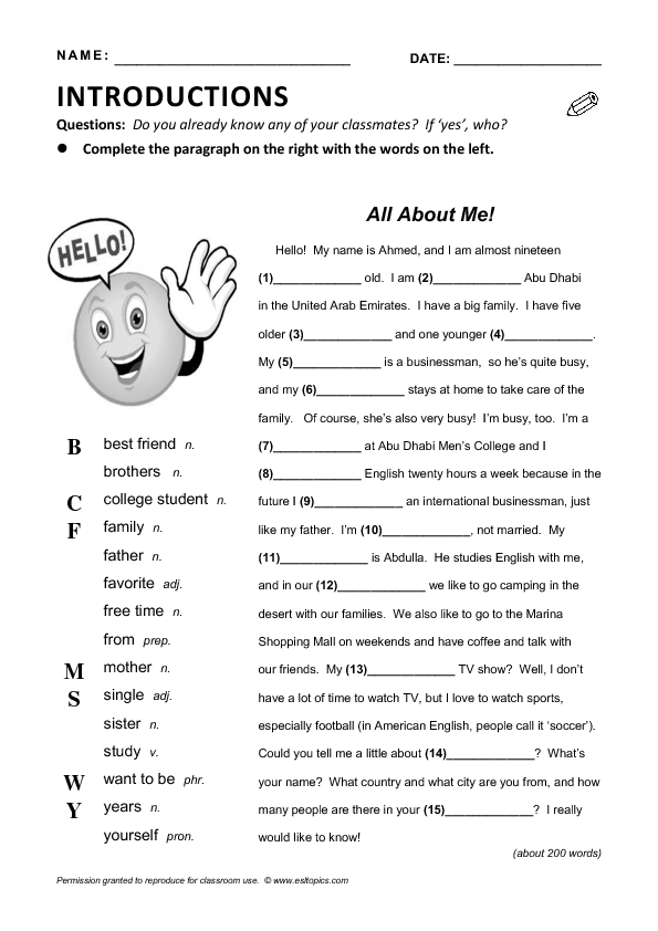 Conversation Questions - Getting to know you - Elementary ...