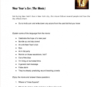 Movie Worksheet: New Year's Eve
