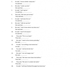 Reported Speech Transformation Worksheet Part 3