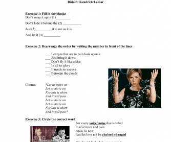Song Worksheet: Let Us Move On by Dido