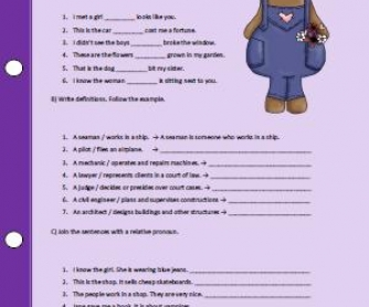 Relative Pronouns Worksheet