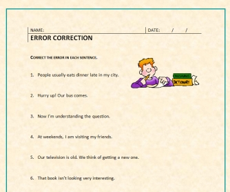 Error Correction Worksheet