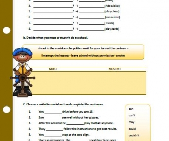 Modal Verbs Elementary Worksheet