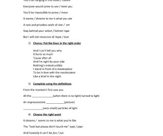 Song Worksheet: Masterpiece by Madonna