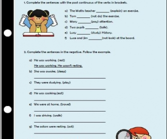 Past Continuous Tense Elementary Worksheet