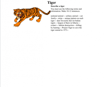 Tiger: Creative Writing Worksheet