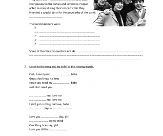 Song Worksheet: Eight Days a Week by The Beatles