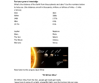 Song Worksheet: 93 Million Miles by Jason Mraz