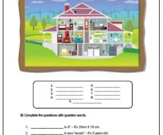 House and Question Words Worksheet