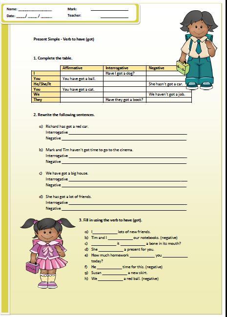 Present Simple: Have/Has Got Worksheet