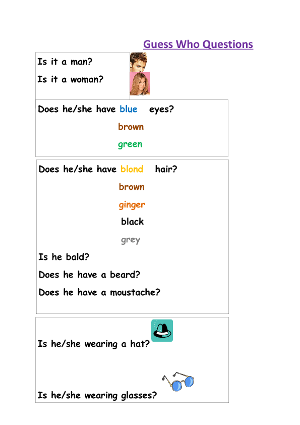 guess who question game - ESL worksheet by grikoga |Guessing Game Questions