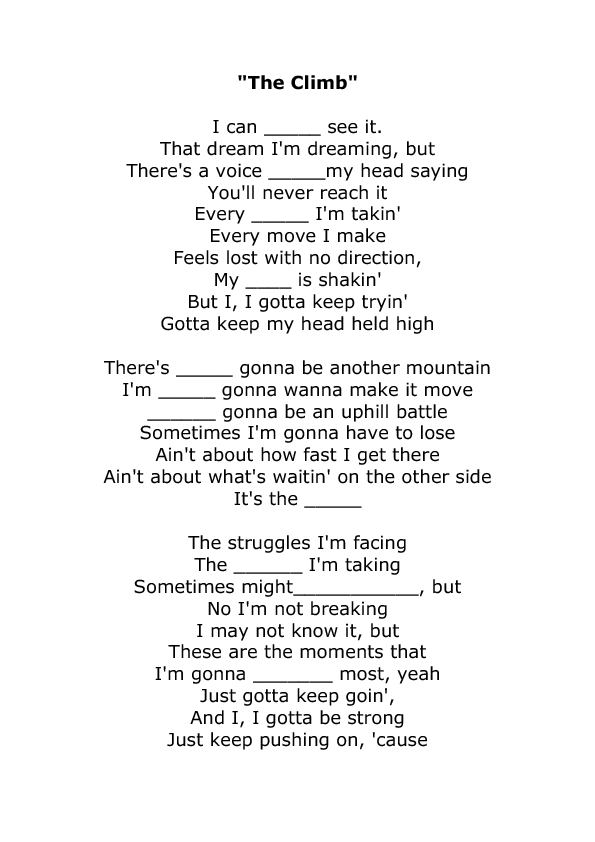 Worksheet The Climb by Miley Cyrus – My Side of the Mountain Worksheets