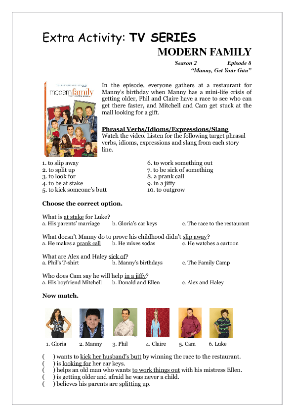 Tv Series Worksheet Modern Family S02e08