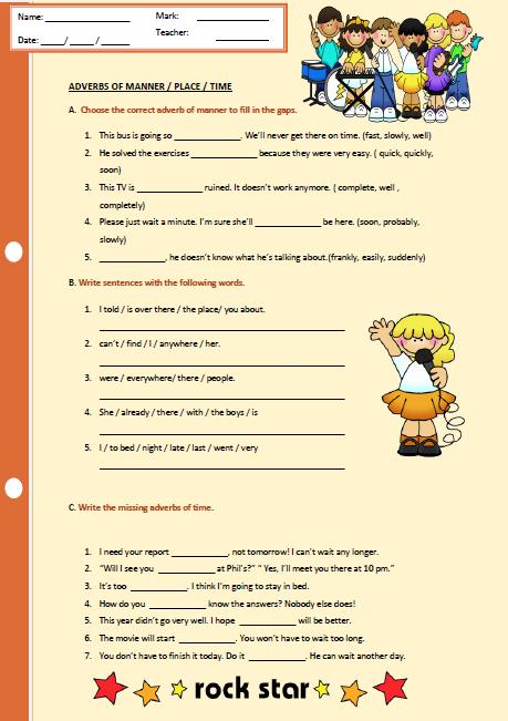 This is a simple worksheet for revising adverbs of manner, place and ...