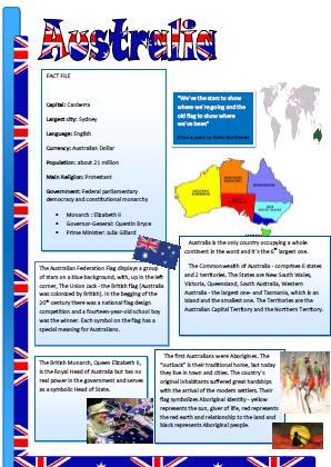 Australia Reading Worksheet