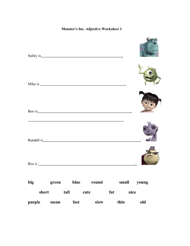 Monster's Inc. Adjective Worksheet (Beginner and Intermediate)