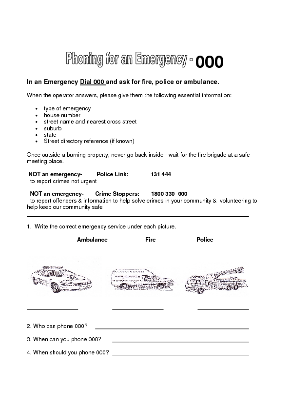 76 free emergency worksheets