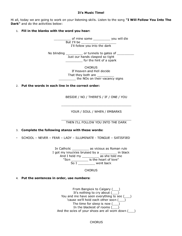 Song Worksheet I Will Follow You Into The Dark By Death Cab For Cutie