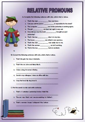 who what when where why worksheets relative pronouns elementary worksheet 772