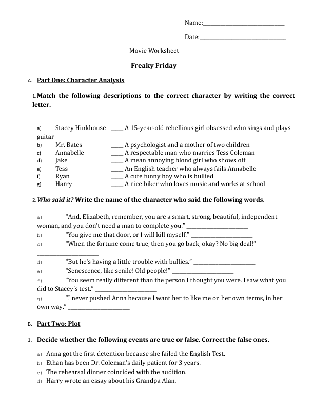 worksheet freaky friday movie worksheet freaky friday