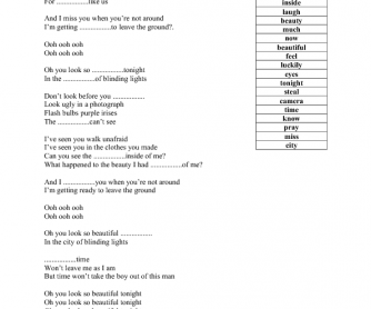 Song Worksheet: City of Blinding Lights by U2
