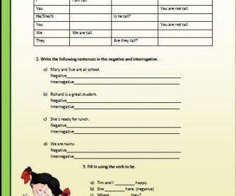 Present Simple: Verb To Be Elementary Worksheet