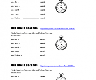 Video Worksheet: Our Life In Seconds