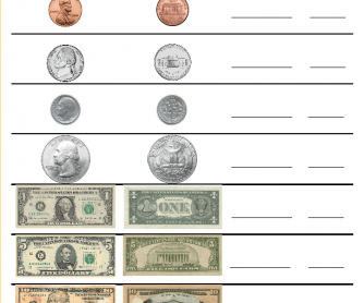 US Money Worksheet