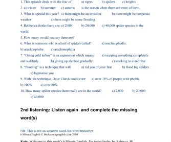 Listening Worksheet: BBC 6-minute English - Spider Invasion