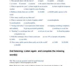 Listening worksheet bbc 6 minute english spider invasion ibookread PDF