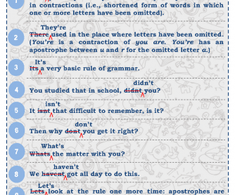Common Errors In Apostrophe Usage [Poster]