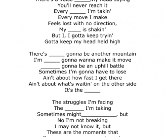 Song Worksheet: The Climb by Miley Cyrus