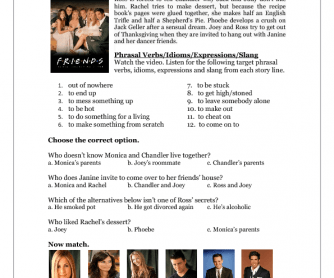 Tv Series Worksheet Friends S06e09