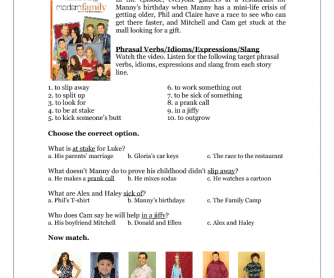 TV Series Worksheet: Modern Family (S02E08)