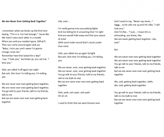 Song Worksheet: We Are Never Ever Getting Back Together by Taylor Swift