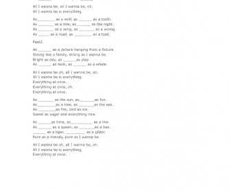 Song Worksheet: Everything At Once [As...As Structure]