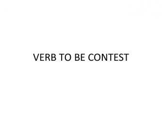 Verb To Be [Contest]